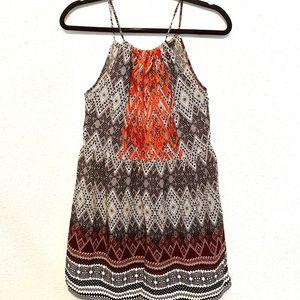THML boho black gray orange spaghetti strap dress